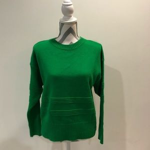 NWOT Topshop Green Lined Sweater - Size US 8-10
